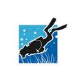 ocean diver logo design vector image vector image