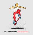 ollie skateboarder guy outline of vector image