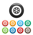 one tire icons set color vector image vector image