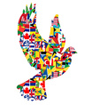 Peace concept with dove made of World flags vector image vector image