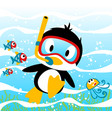 penguins diving time with little friends vector image