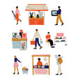 people selling and shopping at marketplace or flea vector image vector image