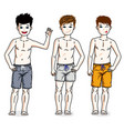 pretty child boys standing in colorful stylish vector image