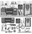 professional 3d printing line monochrome vector image