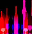 Red background with bottles of wine vector image vector image