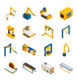robotic machinery icons set vector image vector image