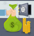 safe coins and hands holding money bag vector image vector image