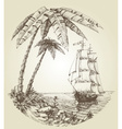 Sailing boat on sea and tropical island vector image vector image