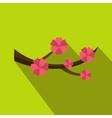 Sakura flowers icon flat style vector image