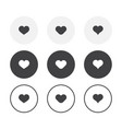set 3 simple design heart icons rounded vector image