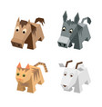 set of different isometric 3d animals vector image vector image