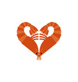 shrimps love isolated heart of plankton on white vector image