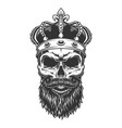 skull with beard in crown vector image vector image