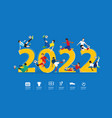 soccer players in action on 2022 new year vector image vector image