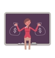 Woman against the blackboard with drawn sacks of vector image vector image