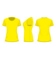 yellow womans t-shirt in back front and side views vector image vector image
