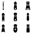 zipper icon set vector image vector image