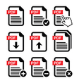 PDF download and upload icons set vector image