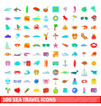 100 sea travel icons set cartoon style vector image vector image