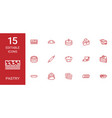 15 pastry icons vector image vector image
