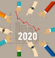 2020 chart going down concept recession vector image vector image