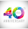 40 th anniversary facet years multicolored vector image vector image