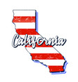 american flag in california state map grunge vector image