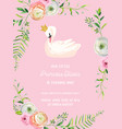 Baby birthday invitation card with swan flowers