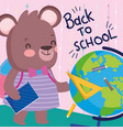 back to school cute female bear with bakcpack book vector image vector image