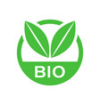bio label badge icon in flat style eco organic vector image vector image