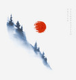 blue mountain slope with pine trees in fog and big vector image vector image