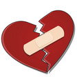 broken heart is glued together with a plaster vector image vector image