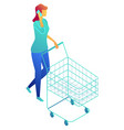 businesswoman walking with shopping cart and vector image vector image