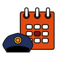 calendar reminder with police cap vector image