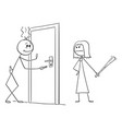 cartoon drunk man returning home angry wife is vector image vector image