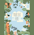 cartoon jungle animals frame with copy space vector image