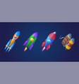 cartoon rockets shuttles and jetpack vector image