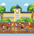 children playing soccer on field vector image vector image