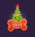 christmas tree over bone happy new year 2018 of vector image