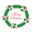 christmas wreath with a merry christmas text vector image vector image