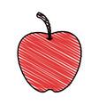 color crayon stripe apple fruit food vector image vector image