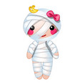 cute doll in the form of a mummy wrapped in vector image