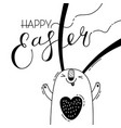 cute easter bunny rabbit hare greeting card with vector image vector image