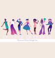 dance and fashion through time set seven women vector image vector image