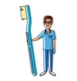 dentist cartoon with tool vector image vector image
