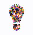 diverse people cartoon light bulb team idea vector image