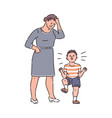 family conflict - child throwing tantrum at tired vector image vector image