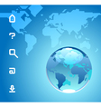 globe and website icons on blue background vector image
