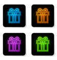 glowing neon gift box icon isolated on white vector image vector image