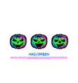 green neon pumpkin lantern set halloween night vector image vector image